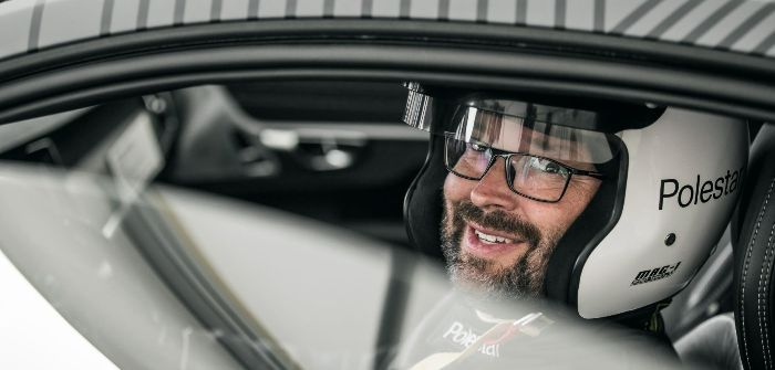 Polestar chief test driver Joakim Rydholm drives Polestar 1 prototype up the hill at GFOS