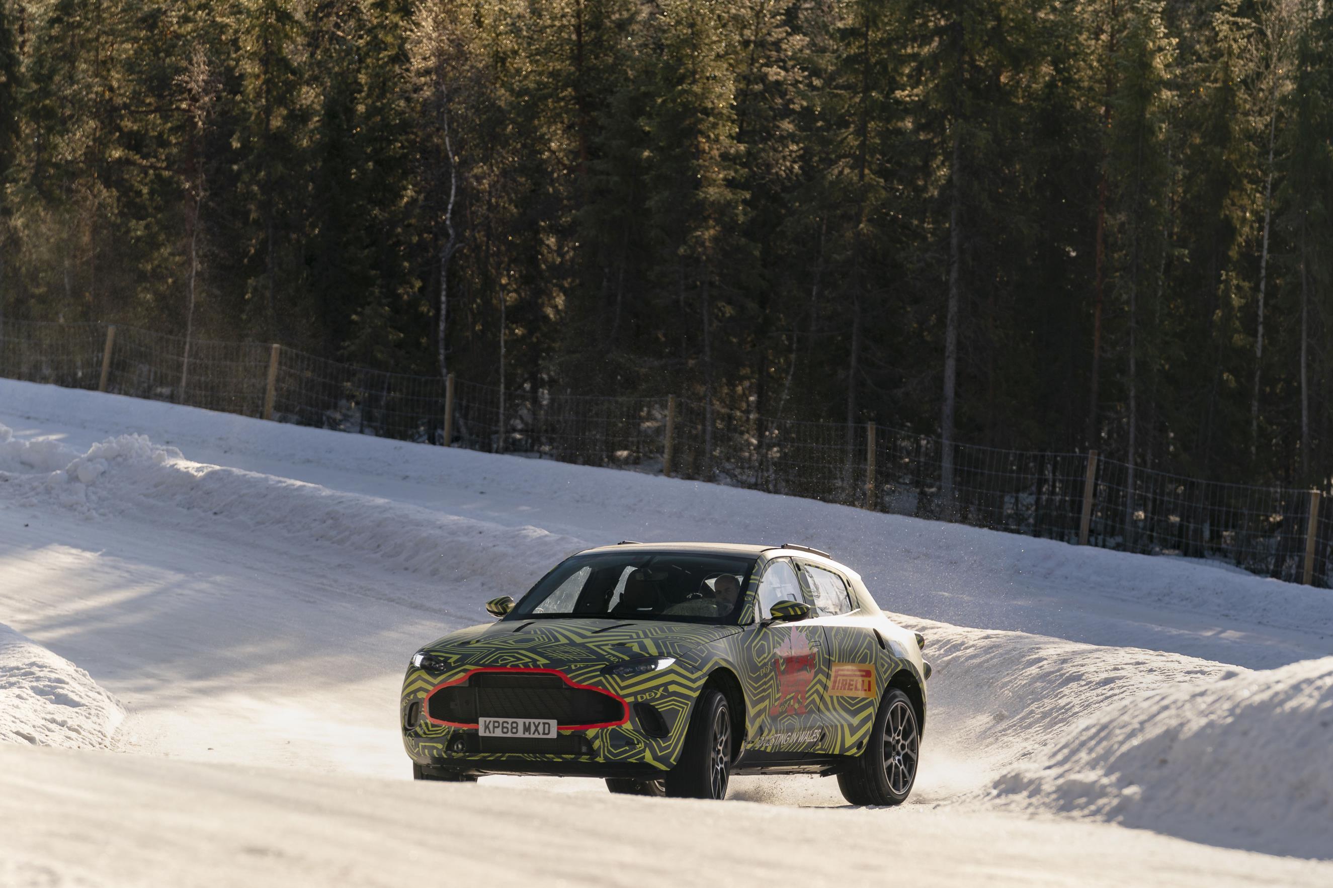 British luxury car maker Aston Martin tests DBX in Sweden